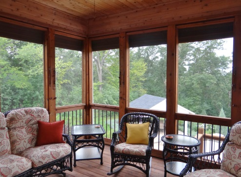 """The lift cords enter the interior of the screen porch through a 3/8"""" entry  hole covered with our thru-the-wall pulley. Each individual shade can be  easily ... - About Our Shades Weather Queen Shades"""