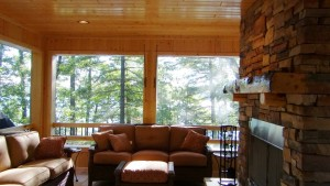 Fireplace on screen porch.